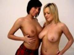 Nasty amateur British lesbian schoolgirls Jessica and Claire teasing with her hot assets
