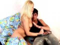 Sweet chesty blond Russian teenage goddess Kate sucking and jerking off a large schlong