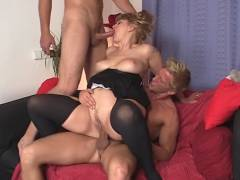 Busty granny gets felt up and screwed