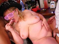 Cock fucks BBW at a great party