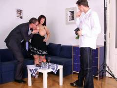 Two guys bang a chubby mature