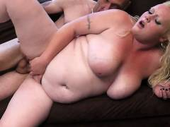 Fat blonde does married guy