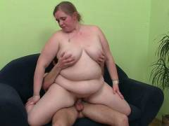 Fat bitch takes a ride on a dick