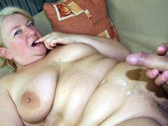 Old fat pussy takes young cock