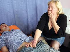 Chubby mature in a hot threesome