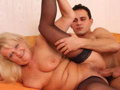 Granny looks hot in black stockings