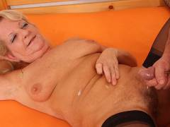 Granny relaxes and takes his big cock