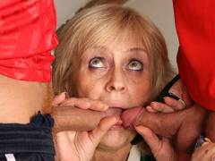 Granny enjoys two younger men