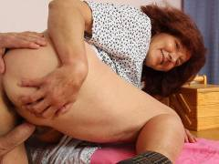 Young man with hard meat does granny