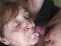 Mature chick showers and gets boned