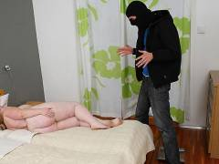 Burglar fucks a fat blonde hard