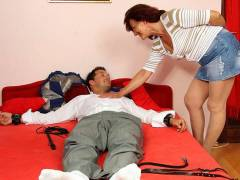 Cuffed hubby fucks his mother in law