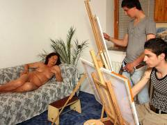 Granny models naked for painters