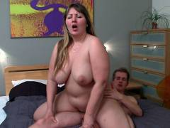 He uses his cock in the fat slut