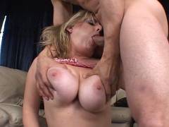 Busty blonde offers blowjob
